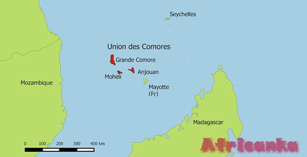 Коморские острова на карте