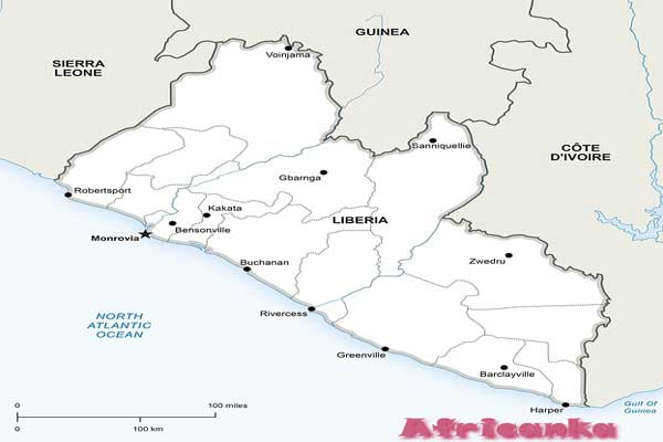 Либерия на карте