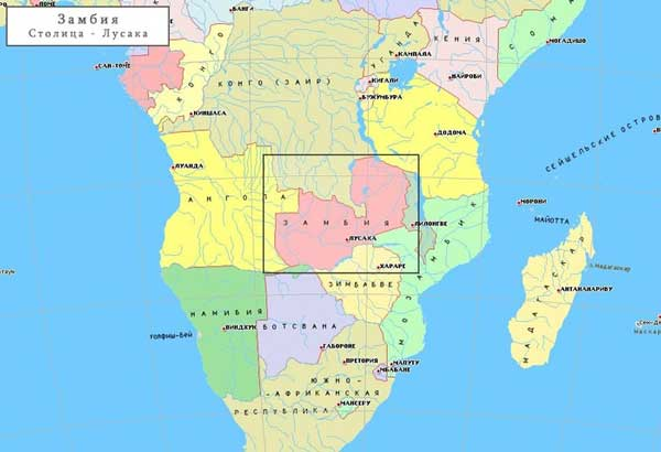 Замбия на карте