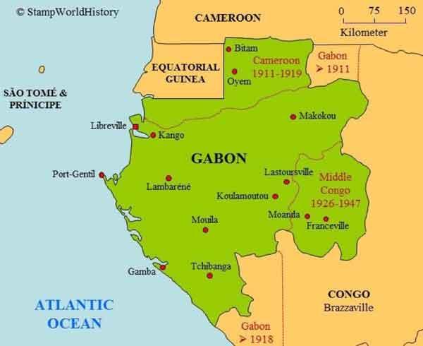 Габон на карте